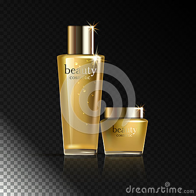 Cosmetic product gold cream or liquid. Vector Illustration
