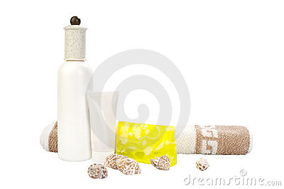 Cosmetic set with hand-made soap and towel