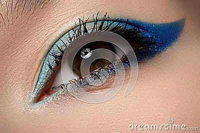 Cosmetic & visage. Macro of blue eye make-up