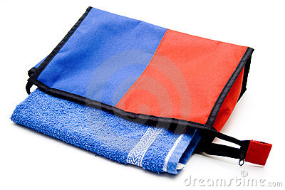 Cosmetics bag with blue towel