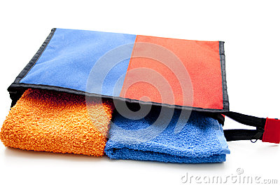 Cosmetics bag with towel