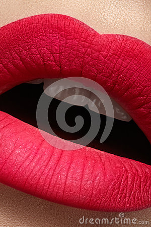 Cosmetics. Beautiful fashion bright pink lips mat make-up