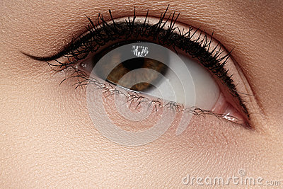 Cosmetics. Closeup of eye with fashion eyeliner make-up