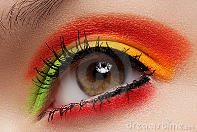 Cosmetics, Eyeshadows. Macro Fashion Eye Make-up Royalty Free Stock Images - Image: 21802729