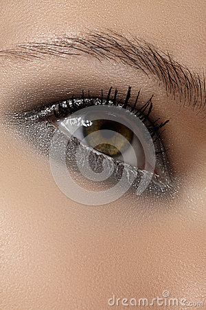 Free Cosmetics, Eyeshadows. Macro Of Fashion Shine Winter Glitter Eye Make-up Royalty Free Stock Photos - 27699868
