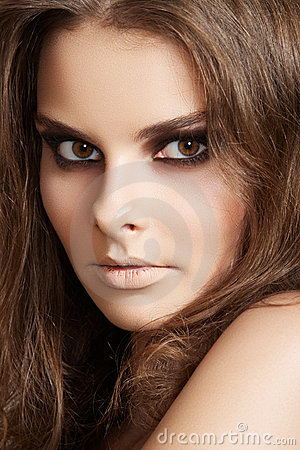 Cosmetics, fashion make-up. Woman with clean skin