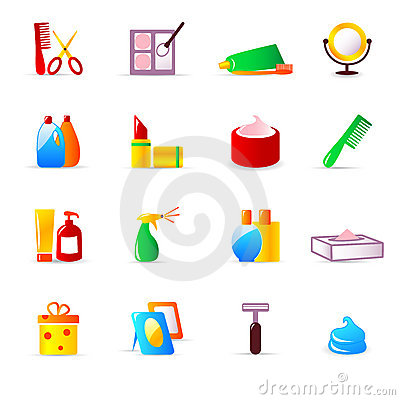 Cosmetics and hygiene icons