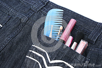 Cosmetics in jeans pocket