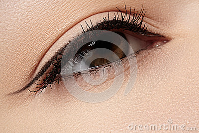 Cosmetics. Macro of beauty eye with eyeliner make-up