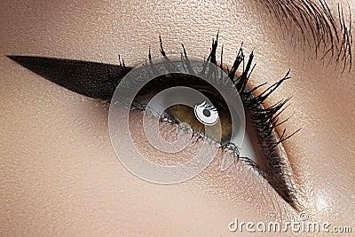 Cosmetics. Macro of beauty eye with liner make-up