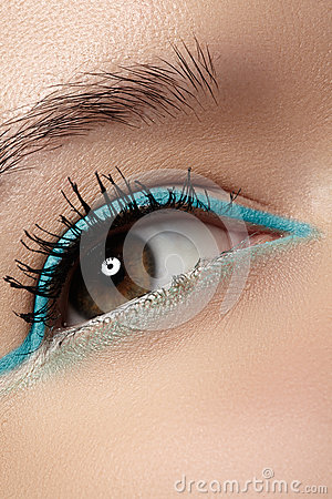 Cosmetics, macro eye make-up. Fashion mint liner eyeshadows
