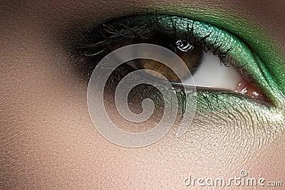 Cosmetics, macro eye make-up. Fashion mint shadows
