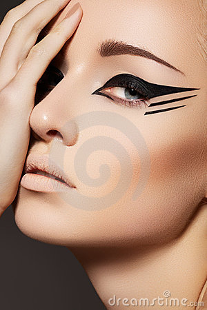 Cosmetics & make-up. Fashion model face, eye liner