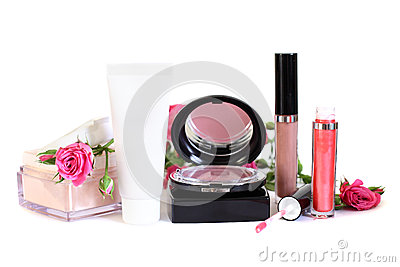 Cosmetics - makeup powder, cream, blush