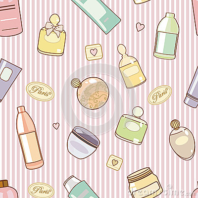 Free Cosmetics-on-pink-pattern Royalty Free Stock Photos - 25990498