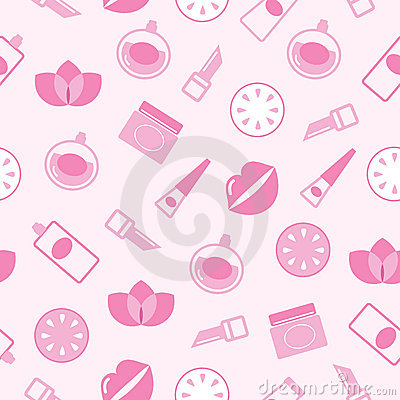 Cosmetics seamless pink pattern or texture, backgr