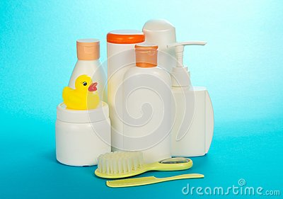 Cosmetics set for kids, hairbrush and crest