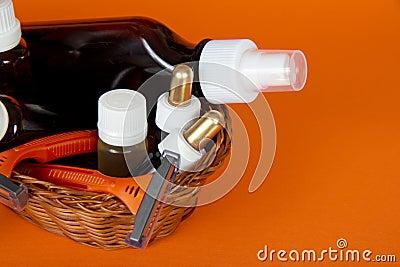 Cosmetics set in a wattled basket