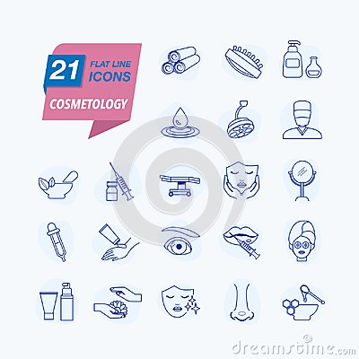 Free Cosmetology. Skin Care. Simple Isolated Icons. Stock Photography - 111016212