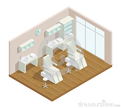 Free Cosmetology Studio Isometric Interior Stock Image - 86227661