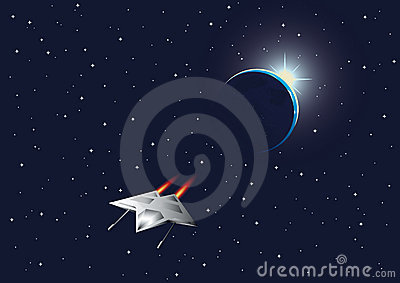 Cosmic background with the Earth and space fighter