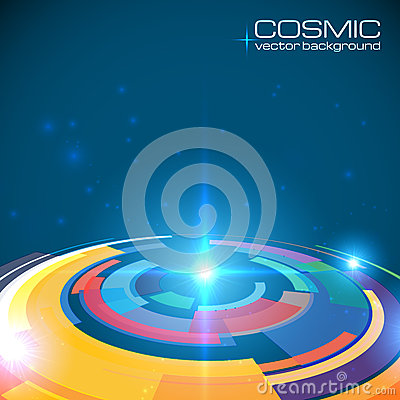 Cosmic colorful shining disc abstract