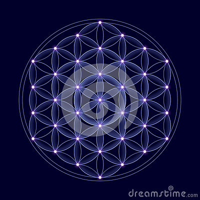 Free Cosmic Flower Of Life With Stars Royalty Free Stock Photo - 52135695