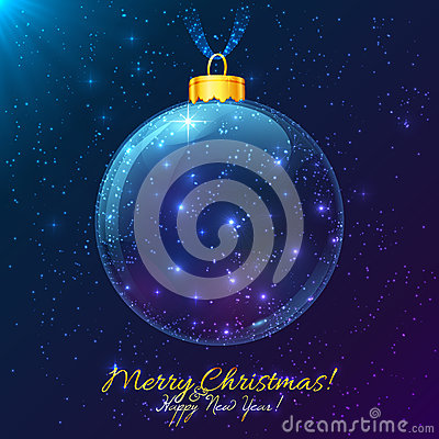 Cosmic glass ball with Merry Christmas sign