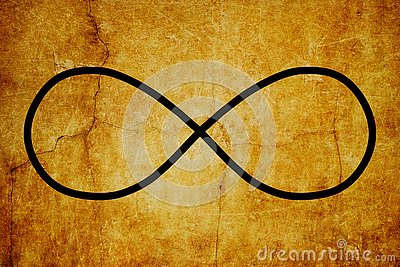 Cosmic Lemniscate Infinity Symbol Magic Symbols Vintage background Stock Photo