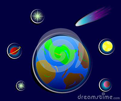 Cosmic stickers of earth, stars and planets