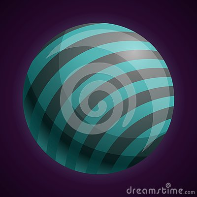 Cosmic striped planet icon, cartoon style Vector Illustration