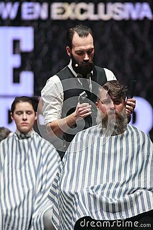 Cosmobelleza 2014. The barber show hairdresser Editorial Photo