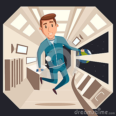 Cosmonaut in zero gravity. Vector cartoon illustration Vector Illustration