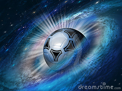 Cosmos background with a soccer ball