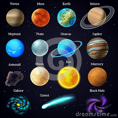 Cosmos Stars Planets Galaxy Icons Set Stock Vector Image