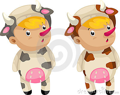 Cosplay cow vector
