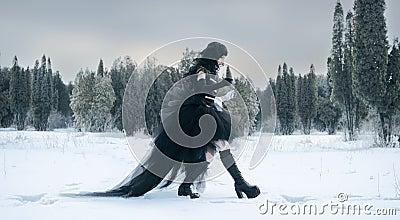 Cosplay girl in black uniform