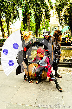 Cosplayer as characters Gaara, Kankuro and Temari from Naruto. Editorial Stock Photo