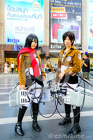 Cosplayer As Characters Mikasa Ackerman And Eren Jaeger ...