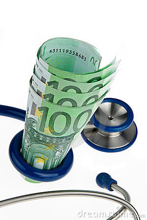 Cost of health with ? and stethoscope