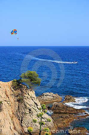 Costa Brava (Spain) with parasailer