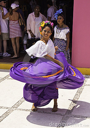 Costa Maya Mexico - Native Dancing Woman Editorial Stock Photo