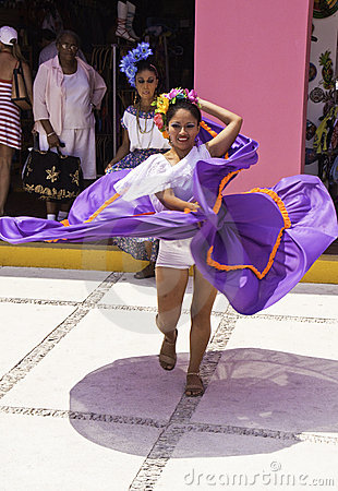 Costa Maya Mexico - Traditional Dancing Woman Editorial Stock Photo