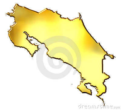Costa Rica 3d Golden Map