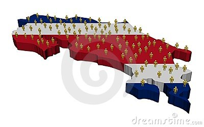 Costa Rica map flag with people