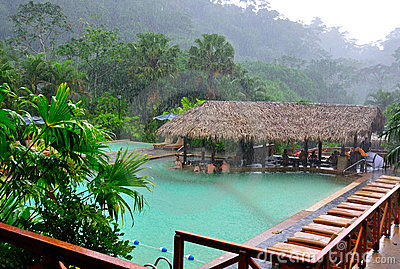 Costa Rica Tourists enjoying hot springs in rain Editorial Photo