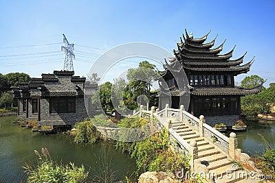 Costruzioni antiche nel giardino cinese fotografia stock for Giardino cinese