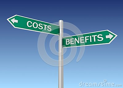 Costs and benefits sign