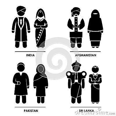 Costume dei vestiti dell Asia del Sud