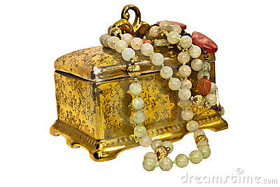 Costume Jewelry/Antique Box Royalty Free Stock Image - Image: 6614406